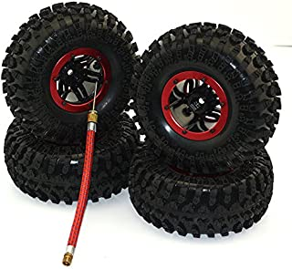 JKshop 4Pack Air Filled Inflated 2.2 Bead Lock Wheel Tire System for 1:10 1:8 Rc Crawler SCX10 D90 AXIAL