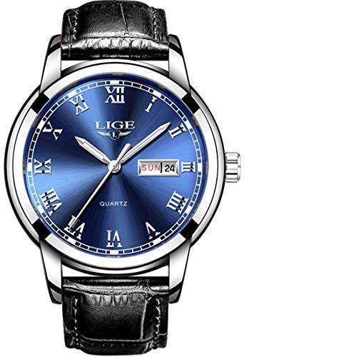 LIGE Herren Uhr Analog Quarz Leder Armband 9904