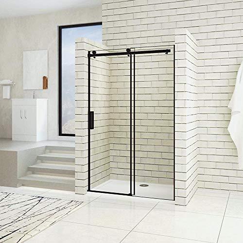 Puerta de ducha corredera AICA 120x200cm Cabina de ducha de nicho PERFIL NEGRO MATE Vidrio templado 8 MM Antical