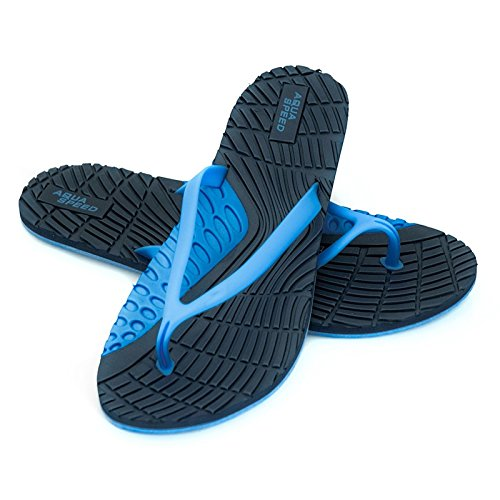 Aqua-Speed Bahama Damen Badeschuhe/Zehentrenner/Strandschuhe (Navyblau/blau, 40)