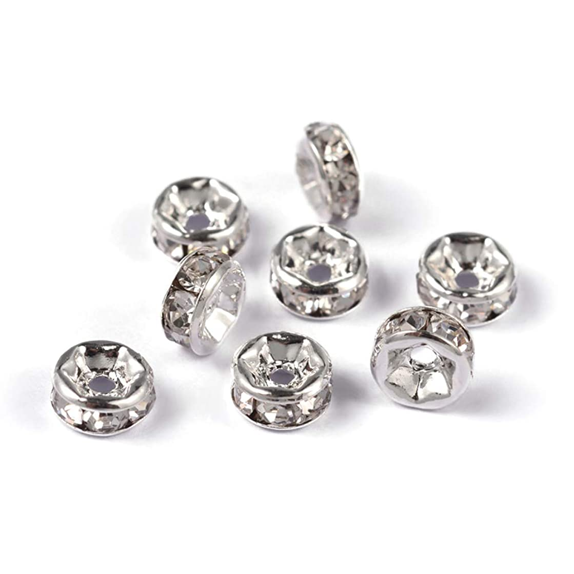 Craftdady 100Pcs Grade A Crystal Clear Rhinestone Rondelle Spacer Beads 6x3mm Nickel Free Silver Plated Brass Flat Round Metal Charm Beads for DIY Jewelry Making with 1mm Hole