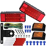 WoneNice LED Low Profile Submersible Trailer Tail Light Kit, rectangle LED Trailer Lights Halo Glow with Wiring Harness Combined Stop, Tail Lights, Turn Function for Boat Trailer, 12V