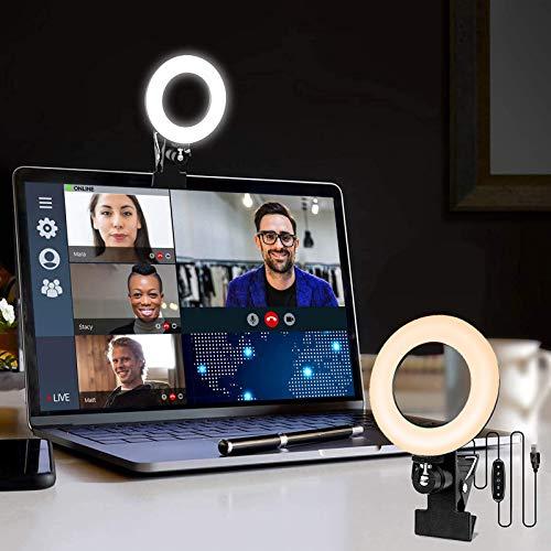 LAVKOW 16cm Videokonferenz-Beleuchtungsset mit Clip für Mobiltelefone Dimmbares LED-Make-up-Licht für Online-Besprechungen/Live-Streams/YouTube/TikTok Kompatibel mit iPhone und Android-Handys