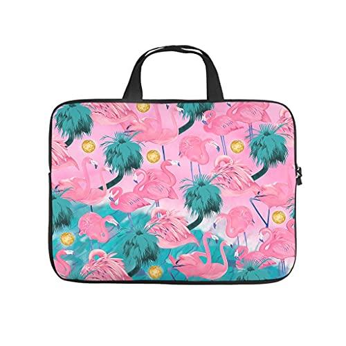 Facbalaign Bolsa para ordenador portátil con diseño de flamencos y plantas tropicales, para hombre y mujer, portátil, de alta calidad, con asa