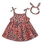 Moneycom – Vestido de verano para niña, falda de tul y tul de ceremonia, para boda, niña, leopardo, sin mangas, estampado rojo 18-24 Meses