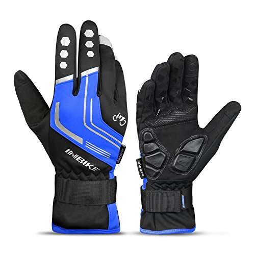 INBIKE Cycling Winter Gloves,for Men Windproof Reflective Thermal Gel Pads Touch Screen MTB Mountain Bike Blue Large