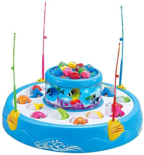 B&B E-Mart Fish Catching Game Big with 26 pcs of Fish, 2 Rotary Fish Pond and 4 pod, Includes Music and Light Function ( Multi Color) (B&B E-Mart Battery Operated Fish catching Game 2 - 4 Players)