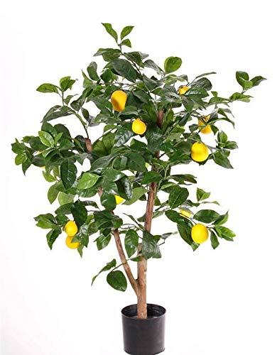 artplants.de Limonero de plástico ZYPRIAN, Tronco Real, con Frutos, Verde, 85cm - Árbol limonero Artificial - Limonero sintético