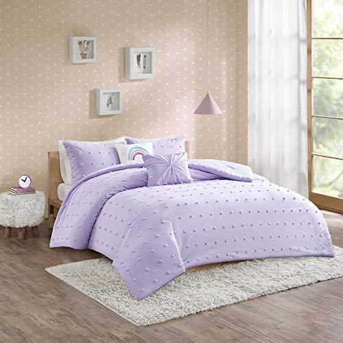 Urban Habitat Kids Callie Cotton Jacquard Pom Comforter Set, Full/Queen, Lavender