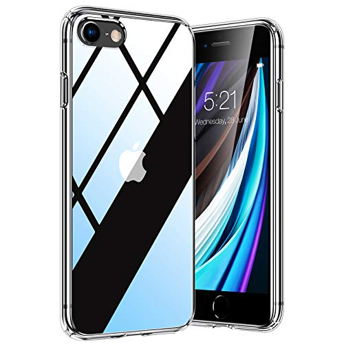 TORRAS Diamond Series für iPhone 7/8/SE 2020 Hülle, Vergilbungsfrei Durchsichtig iPhone SE Hülle/iPhone 8 Hülle/iPhone 7 Hülle Hard Back und Silikon Bumper Handyhülle (Transparent)