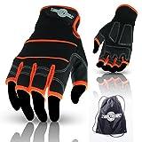 ToolFreak - Guantes de seguridad con bolsa, negro y naranja