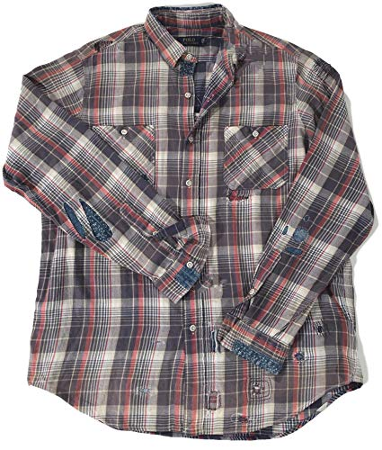 Ralph Lauren Polo Men's Plaid Japan Tiger Embroidered Patched Stitched L/S Flannel Shirt (Large)
