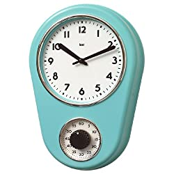Bai 280.TU Retro Kitchen Timer Wall Clock, Turquoise