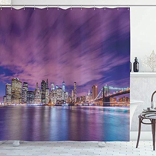 ASDAH Modern douchegordijn New York City Skyline bij nacht met wolkenkrabbers Manhattan USA Amerikaanse Panorama doek stof badkamer Decor Set met haken Violet Purple 66 * 72in