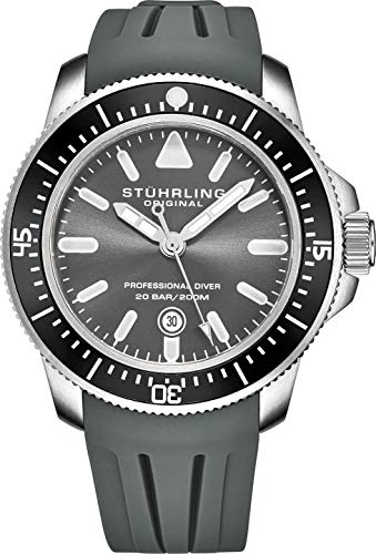 Stuhrling Original Dive Watches for Men - Pro Sport Diver with Screw Down Crown and Water Resistant to 200M. - Grey Analog Watch Dial, Japanese Quartz Movement - Maritimer Mens Watch Collection