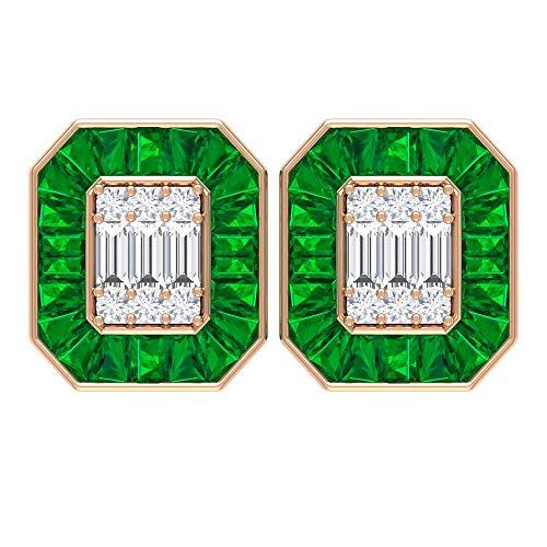 Pendientes Octágonos Antiguos, 5,3 CT Esmeralda Pendientes, HI-SI 0,54 CT Diamante Cluster Pendientes, Pendientes Vintage, 10K Oro rosa, Par