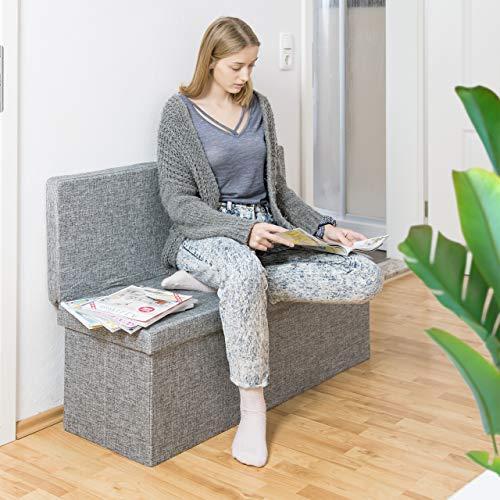 Relaxdays Faltbarer Sitzhocker mit Lehne XL HBT 73 x 114 x 38 cm stabiler Sitzcube als Fußablage Sitzbank und Sitzwürfel aus Leinen als Aufbewahrungsbox mit Stauraum mit Deckel für Wohnraum, braun - 5