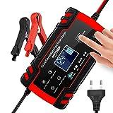 3T6B Chargeur de Batterie Intelligent Portable, 12V/4A 24V LCD Écran avec Protections Multiples Type de réparation pour Batterie de Voiture Moto (Rouge)