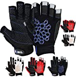 MRX BOXING & FITNESS Sailing Gloves Sticky Palm Gripy Glove Yachting Kayak Dinghy Fishing Short Finger Multi Colors (Black/Blue, M)