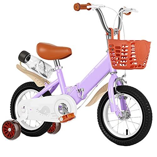 CKCL Bicicleta para Niños, Bicicleta para Principiantes para Niños Y Niñas 12 14 16 Ruedas De 18 Pulgadas Ruedas De Entrenamiento Plegables con Portabidón Y Canasta,Púrpura,12inches