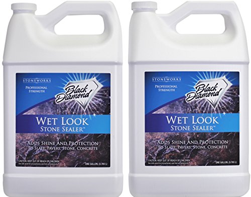 Black Diamond Stoneworks Wet Look Natural Stone Sealer Provides Durable Gloss and Protection to: Slate, Concrete, Brick, Pavers, Sandstone, Driveways, Garage Floors. Interior or Exterior. 2-Gallon