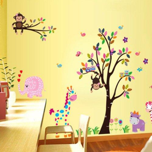 YESURPRISE Vinilo Decorativo Vinilos Infantiles Dormitorio Pegatina Pared Vinilo AdhesivoInfantil Animales Multicolor