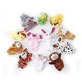 VWH 12 Stück Weiches Plüsch Tiere Fingerpuppen Set Samt Tiere Kinder Lernspielzeug Baby Spielzeug zum Geschichten erzählen Fingerspielzeug Set