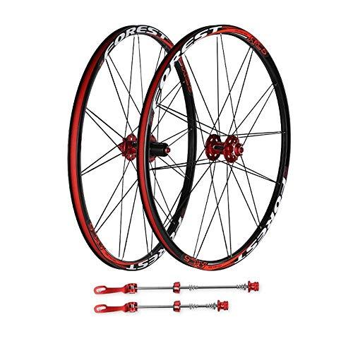 """26""""27.5"""" MTB Bicicleta Delantera Rueda Trasera Juego De Ruedas De Doble Pared Rodamientos Sellados Buje Llanta De Liberación Rápida Rojo Negro 1800g,27.5inch"""