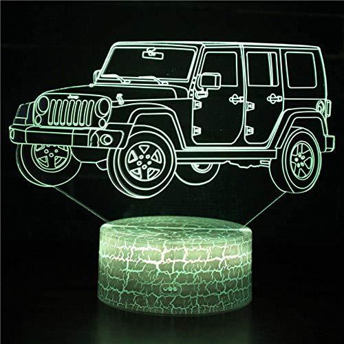 Lámpara de escritorio de mesa de ilusión óptica 3D, lámpara de mesa USB de casa de camión Jeep para dormitorio de niños, decoración de fiesta en casa para dormir-16 colors remote