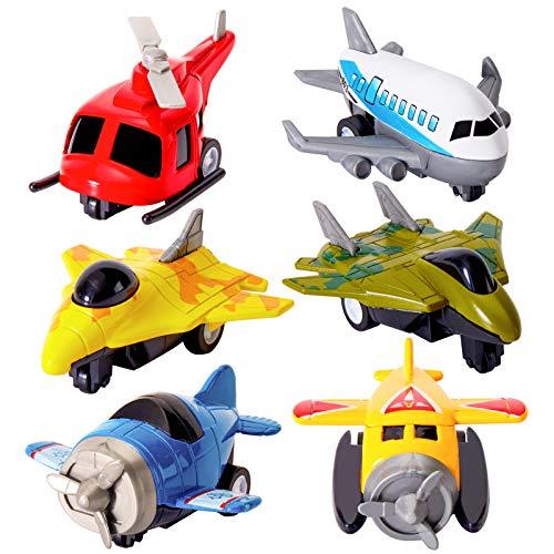 HERSITY Mini Flugzeug Spielzeug Metall Hubschrauber Kinderspielzeug Helikopter Deko Geschenk Kinder Jungen ab 3 4 5 Jahre, 6 Stück Spielzeugautos