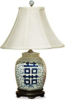 China Furniture Online Porcelain Ginger Jar Lamp, Blue and White Double Happiness