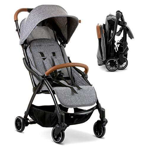 ABC Design Silla de paseo bebe Flash con respaldo reclinable - Sillita de paseo ligera y compacta, plegado con una mano, hasta 25 kg - Gris