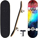 Funtress Skateboard 7 Layers Decks 31' x 8 Pro Komplettes Skateboard Ahornholz Outdoor Longboards für Teenager Erwachsene Anfänger Mädchen Jungen Kinde (Sternenhimmel)