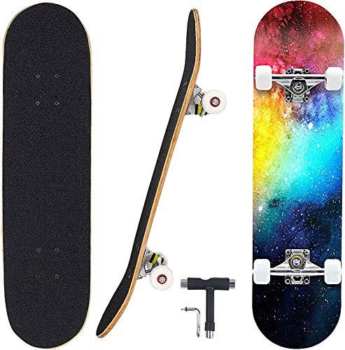 Skateboard 7 strati Deck 31 'x8' Pro Skateboard completo in legno di acero Longboard all'aperto per adolescenti Adulti Principianti Ragazze Ragazzi Bambini (Galassia)