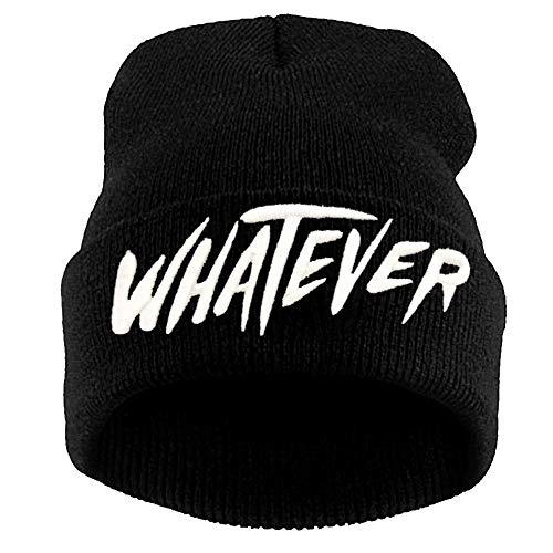 Black Whatever Letter Slouchy Beanie Skull Winter Knit Hat Cap for Men Women