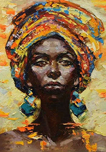 N / A Modern abstract african woman portrait oil painting on canvas mural art posters and prints pictures home decoration living room frameless decorative canvas painting A96 50x70cm