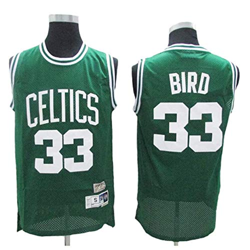 XSJY Uomo Basketball Maglia Larry Bird # 33 - NBA Boston Celtics, Respirabile Freddo di Tessuto Ricamato Nuovo Retro all-Star Sports Jersey Top,A,M:170~175cm/65~75kg