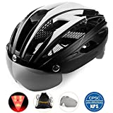 Basecamp Bike Helmet, Bicycle Helmet CPSC Certified Cycling/Climbing Helmet BC-069 with Detachable Magnetic Goggles Visor&LED Back Light&Portable Backpack Adjustable for Men/Women Mountain