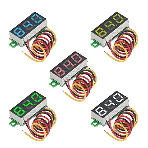 MakerFocus 5pcs Mini Digital Voltmeter DC 0.28 Inch Three-Line DC 0-100V Mini Digital Voltmeter Gauge Tester LED Display Reverse Polarity Protection and Accurate Pressure Measurement 5 Colours
