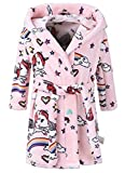 Enfants Peignoir à Capuche imprimé Animal Robe de Chambre Douce Flanelle à Capuchon Peignoir de Bain (Licorne Rose, 11-12T / Hauteur 160cm)