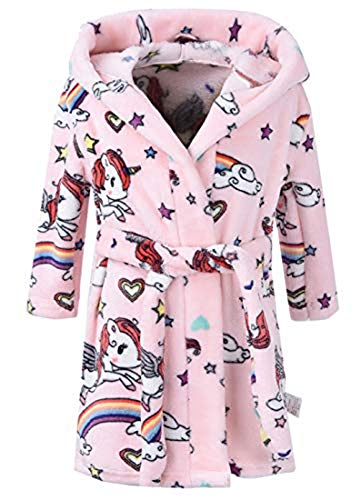 Kinder Bademantel Mit Kapuze Animal Print Morgenmantel Weiche Flanell Mit Kapuze Bademantel Kinder Mit Kapuze Nachtwäsche Robe (Rosa Einhorn, 5T/ Höhe 120cm)