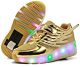 Enfants LED Chaussures à Skates avec Roues LED Clignotante Baskets Mode Coloré Lumineux Patins à roulettes Multisports Outdoor Chaussures de Skateboard pour Garçon Fille