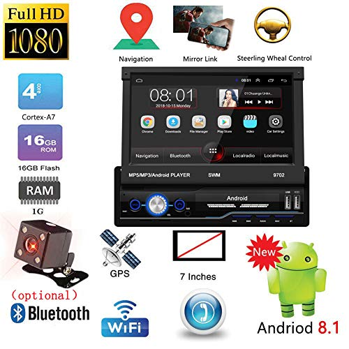 Rabusion New for 7 Inch Android 8.1 Telescopic Vehicle Navigation Mp5/mp3 Insert Card Player Gps Navigation Bluetooth Reverse Car Compass With camera