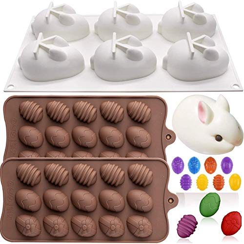 3 Pack Easter Silicone Molds, 6-Cavity 3D Easter Rabbit Bunny Mold Silicone Easter Egg Molds Chocolate Baking Molds Candy Fondant Tray Mould for Easter Day Handmade Soap,Jelly, Candy,Chocolate,Cake