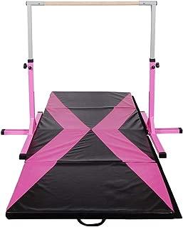 Polar Aurora Gym Gymnastics Training Bar AdjustaPIe Height Horizontal Bar Sturdy Gymnastic for Kids with 4' x 10' Gymnastic Mat Set (Pink&Rose-Black Mat)