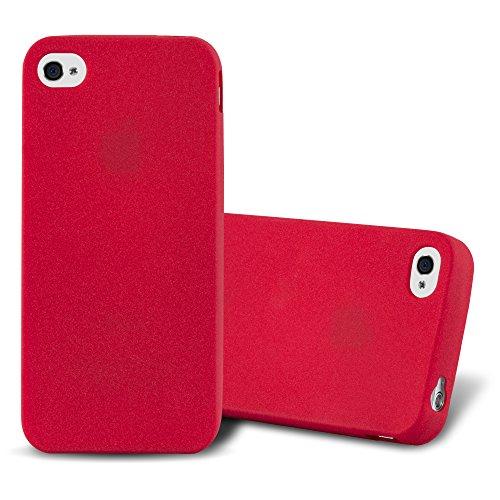 Cadorabo Funda para Apple iPhone 4 / iPhone 4S en Frost Rojo - Cubierta Proteccíon de Silicona TPU Delgada e Flexible con Antichoque - Gel Case Cover Carcasa Ligera