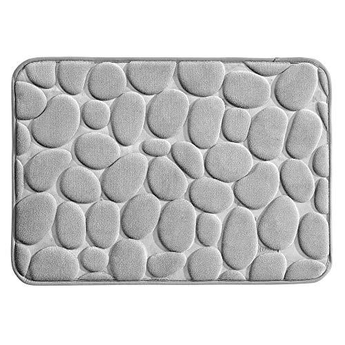 mDesign Douchemat - Anti-slip mat voor badkuip en douchecabine - kleine badmat gemaakt van zacht schuim in kiezelsteenlook - grijs