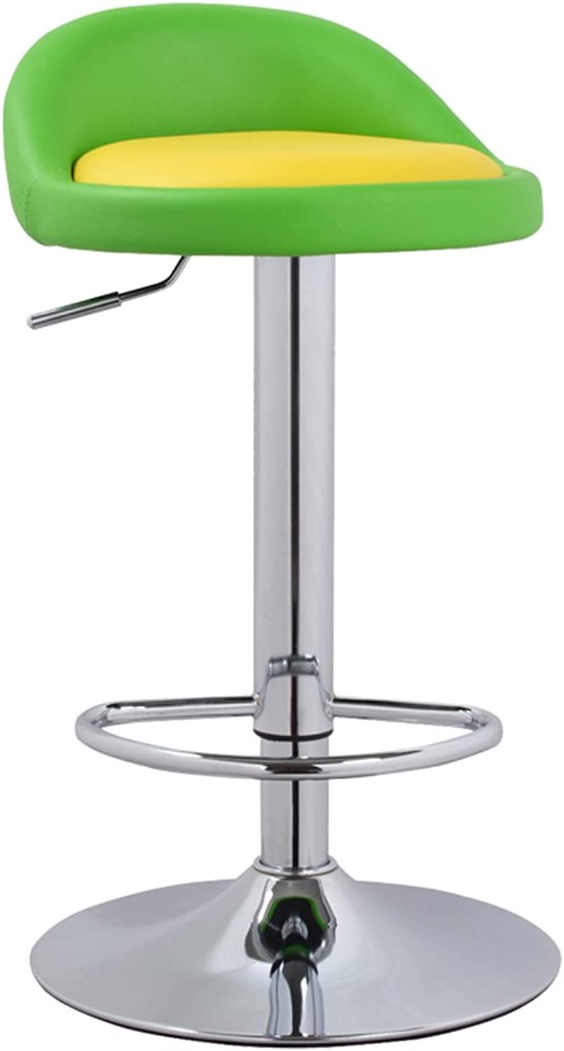Simple front desk, European high stool, bar stool, bar stool, backrest bar chair, lift chair -by TIANTA ( color   Fruit green+yellow )