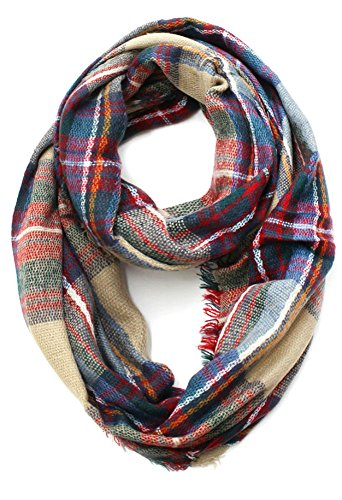 Plum Feathers Premium Plaid Print Infinity Scarf (Camel with Frayed Edges)