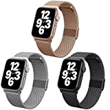Magnetic iWatch Bands Compatible for Apple Watch Band Milanese Loop Magnetic iWatch Bands Compatible for Apple Watch Band Milanese Loop 38mm 40mm 42mm 44mm for Women Men, 3 Pack Replacement Accessories Wristband Strap for Apple Watch Sport iWatch Bands stainless steel Apple Smart Watch Series 6 series 3 Apple IWATCH SE /5/4/3/2/3 All Model, Black Rose Gold Silver